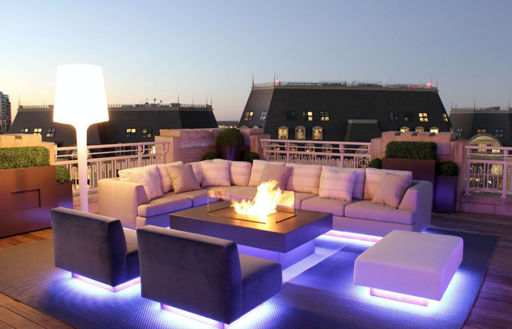 image: LED furniture lighting to brighten your outdoor setting and illuminate your outdoor landscape or patio